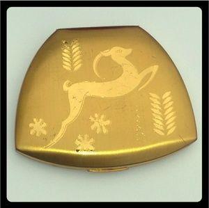 '60s VINTAGE Elgin GoldTone Compact Etched Deer